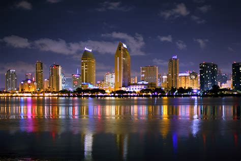 San Diego Skyline Midnight Coronado Times
