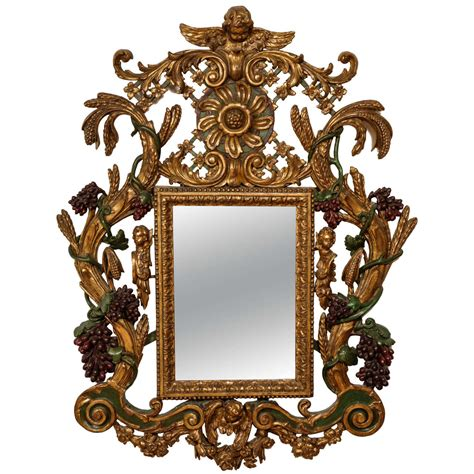 baroque mirror baroque style carved giltwood and painted mirror for sale at 1stdibs