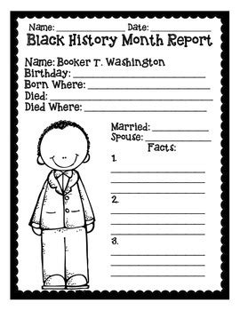 Basic Black History Month Reports By Mrs P's Special Education Classroom