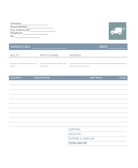 company invoice template   word excel
