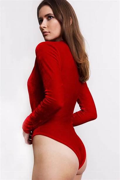 Velvet Bodysuit Suit Neck Sleeve