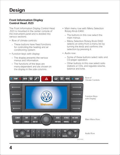 excerpt volkswagen technical service volkswagen phaeton infotainment system self