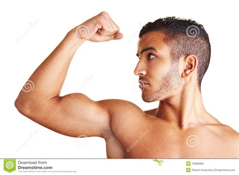Man Flexing His Arm Muscles Royalty Free Stock Image