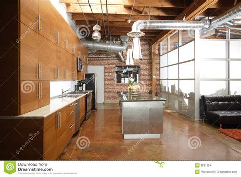 Modern loft kitchen stock image. Image of floor, empty