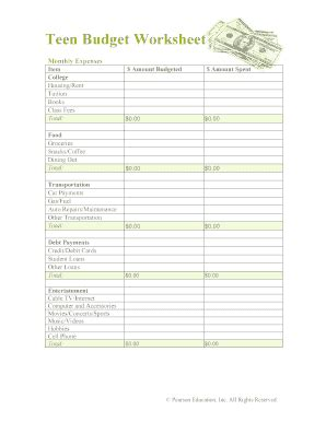 Budget Worksheet For College Students Forms And Templates  Fillable & Printable Samples For Pdf