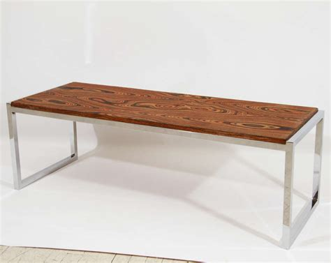 chrome and wood coffee table chrome exotic wood coffee table or bench at 1stdibs