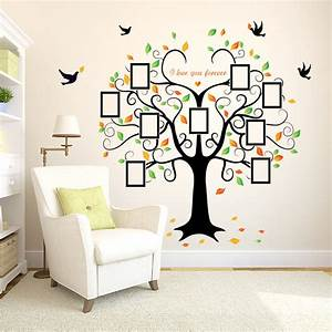 Family photo tree birds wall art stickers vinyl frame for Family wall art