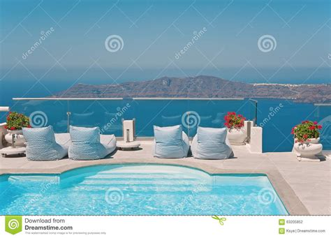 Balcony With Pool With Caldera Sea View Stock Photo