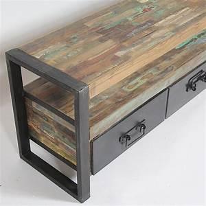 Petit Meuble Industriel : meuble tv bois metal meuble tv petite taille maisonjoffrois ~ Teatrodelosmanantiales.com Idées de Décoration