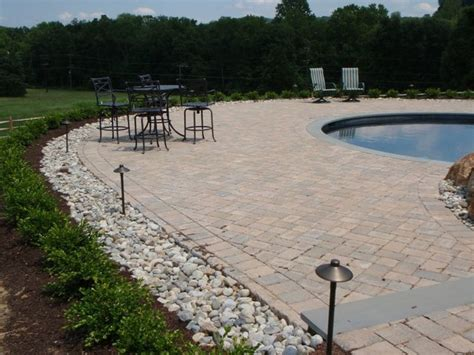 ep henry pool deck with delaware river rock traditional