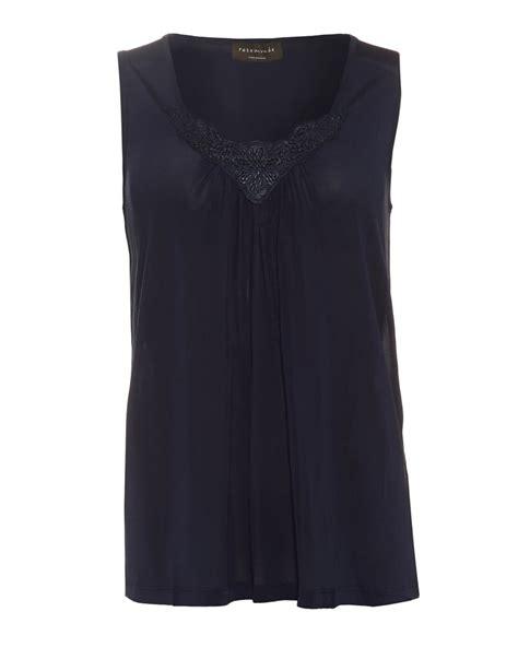 rosemunde womens brenda top navy blue sleeveless silk blouse