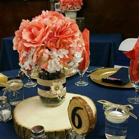 Navy and coral rustic centerpiece Navy wedding