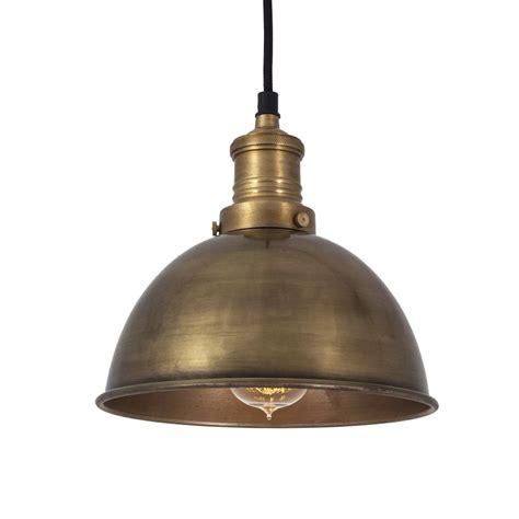 vintage small metal dome brass pendant light