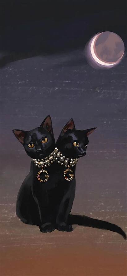 Gucci Iphone Cat Witchy Phone Wallpapers Painting
