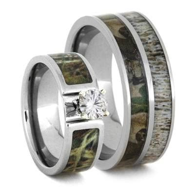 camo wedding ring with moissanite and deer antler rings 3436 jewelry by johan