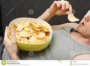 Man Eating Chips Stock Photography Image 10093832