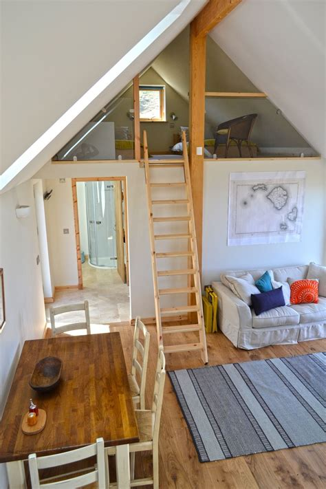 mezzanine bedroom accessible by fold away ladder