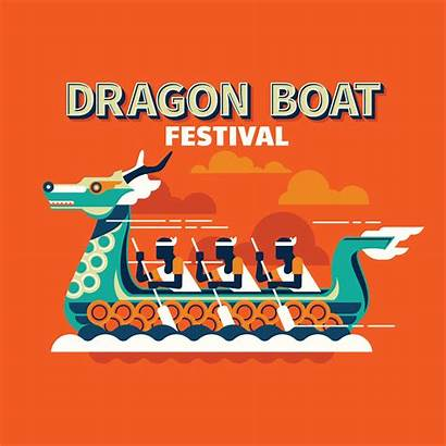 Boat Dragon Festival Vector Racing Traditional Competitive