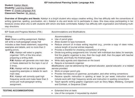 sample individualized education program iep