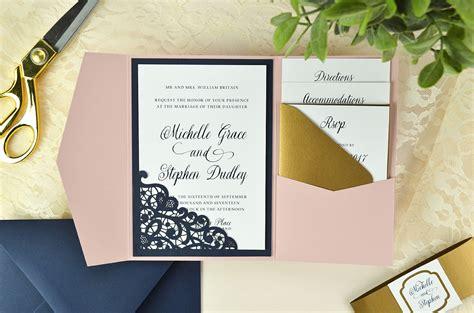 lace laser cut wedding invitation cards pockets design