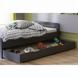 Tiroir de lit anthracite 90x200 pour lit 29cm sous pans for Amenagement chambre ado avec matelas lit electrique 90x200