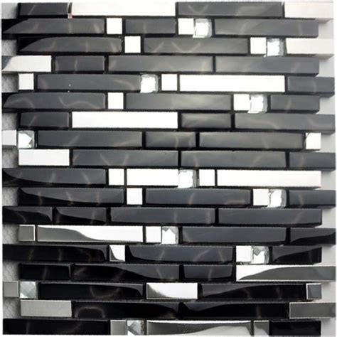 black and silver metal glass mosaic sheets