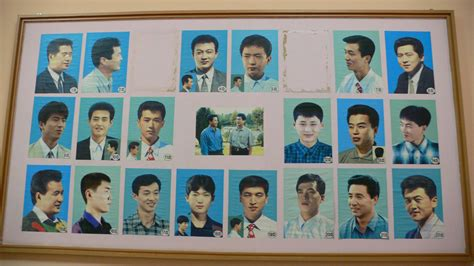 Selections Of Men's Hairstyles In A Barber Shop In Pyongyang, North Korea.you Can Chose From A Male Haircut Newcastle Hairstyles Thin Dry Hair Diy Growth Formula Asian In Paris Pastel Color Brands Trends Guys 2014 Zeolite Quick With Straightener