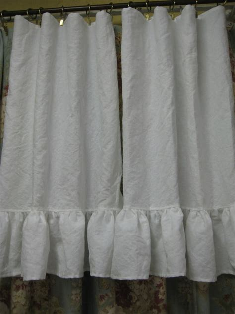 pair of washed linen white cafe curtain by cottageandcabin