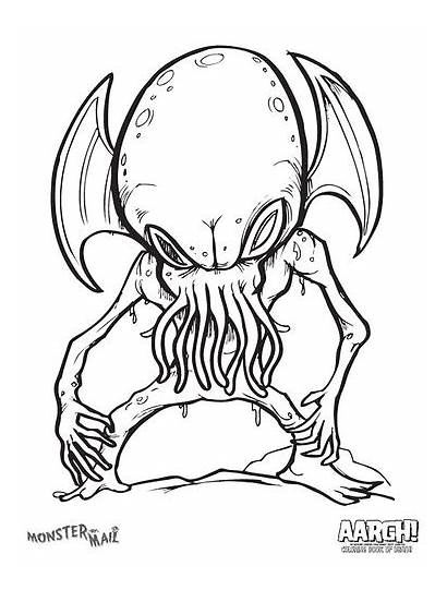 Monster Scary Coloring Pages Alien Creepy Monsters