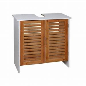 linda meuble sous lavabo 60 cm blanc et decor bois With meuble sous lavabo bois