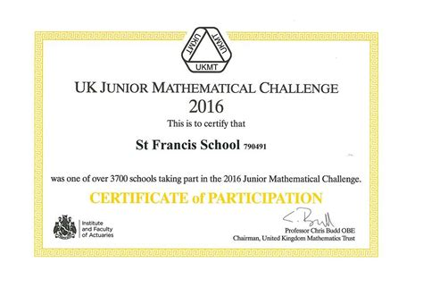 success   ukmt junior mathematical challenge