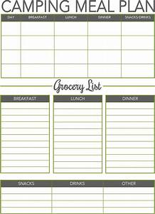 277 best camping checklists images on pinterest With camping menu planner template