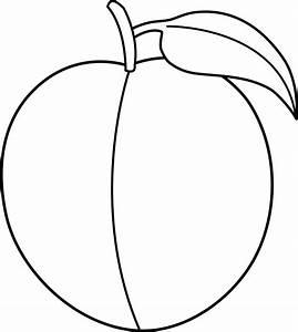 Colorable Peach Line Art - Free Clip Art