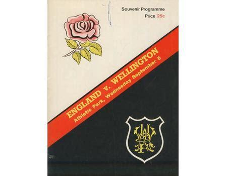 WELLINGTON V ENGLAND 1973 RUGBY PROGRAMME - England Rugby ...