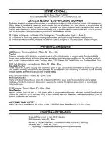 Objective For Educator Resume by Resume Sle Http Ersume Resume Sle