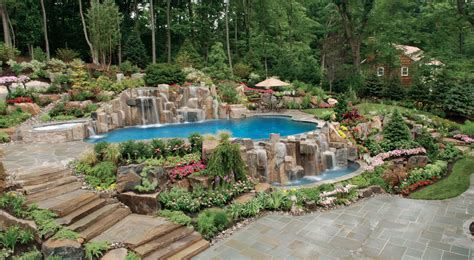 landscaped pools and gardens new jersey swimming pool and landscaping company profiled in luxury pools magazine