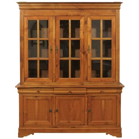 cabinet doors and drawers for sale french 1900s cherry wood two part cabinet with inset glass