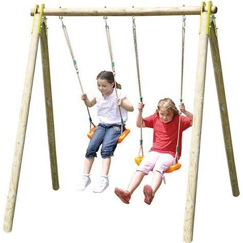 si鑒e balancoire portique en bois trigano natura 1 90 m 2 enfants trigano store