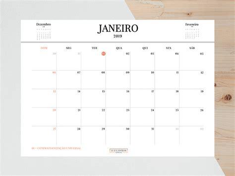 Calendário 2019 Grátis Para Imprimir