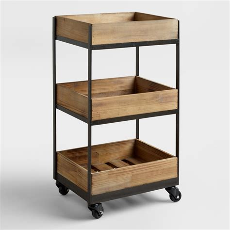 3 shelf wooden gavin rolling cart world market