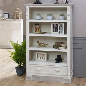 Cream, Rustic, Bookcase, With, Drawer, -, Lyon, Range