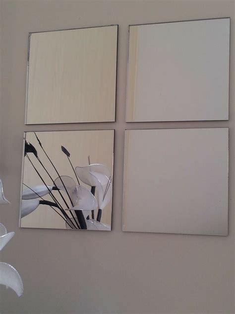 Bathroom Mirror Adhesive by Acrylic Mirror Tiles 200x200mm Self Adhesive Pads X4 Ebay