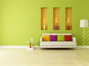 Small House Interior Design With Green Wall Color