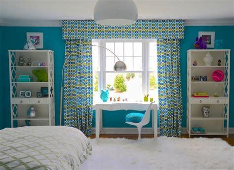 rideaux chambre ado fille décorer les murs d une peinture turquoise 38 idées d été