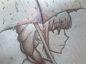 Lonely girl under the rain by railgun02 on DeviantArt