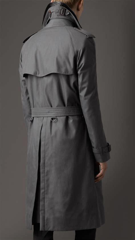 burberry long cotton gabardine alligator collar trench coat  mid grey black  men lyst