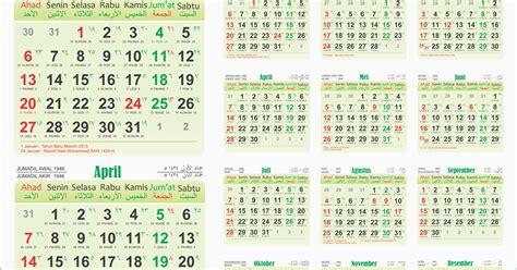 template kalender  lengkap  masehi hijriah jawa