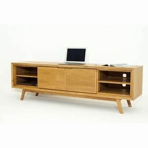 Meuble Tv Vintage Scandinave : meuble tv r tro scandinave 2 portes 4 niches aaron en teck massif naturel ~ Teatrodelosmanantiales.com Idées de Décoration