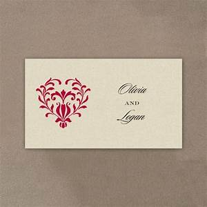 ornate heart wedding invitation pocket tab little flamingo With blank heart wedding invitations