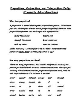 Grammar Worksheets  Prepositions, Conjunctions, Interjections Tpt